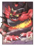 all_fours artist_name border claws colored_sclera commentary_request fire gen_7_pokemon green_eyes incineroar odo_7ta outside_border parted_lips pokemon sharp_teeth smile teeth white_border yellow_sclera
