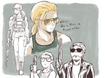 2boys belt boots collarbone facial_hair full_body gloves green_shirt gun handgun hat holding holding_gun holding_weapon kazuhira_miller looking_to_the_side low_ponytail male_focus metal_gear_(series) metal_gear_solid multiple_boys multiple_views partially_colored pistol ponytail prosthesis prosthetic_arm serious shirt sodayabp stubble sunglasses tank_top upper_body venom_snake walking weapon