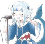 1girl animal_costume animal_hood bangs blue_hair blue_hoodie blue_nails blunt_bangs blush closed_eyes commentary_request fish_tail gawr_gura grin hair_ornament highres hololive hololive_english hood hoodie microphone multicolored_hair nail_polish shark_costume shark_girl shark_hair_ornament shark_tail shinoe_nun silver_hair smile solo streaked_hair tail teeth two_side_up virtual_youtuber white_background wide_sleeves