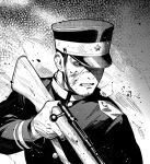 1boy black_eyes clenched_teeth facial_hair golden_kamuy greyscale gun male_focus military military_uniform monochrome rifle solo stubble teeth tsukishima_hajime uniform upper_body weapon zoo_(oukakumaku)