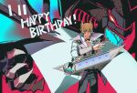 1boy absurdres black_pants blonde_hair card closed_mouth coat commentary_request cowboy_shot dated dragon dragoncrest duel_disk duel_monster hair_between_eyes happy_birthday highres holding holding_card huge_filesize jack_atlas looking_at_viewer pants red_dragon_archfiend shirt short_hair smile spiky_hair standing violet_eyes white_coat white_shirt yu-gi-oh! yu-gi-oh!_5d's