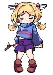 1girl aki_rosenthal arms_at_sides bangs blonde_hair blue_sweater blush_stickers boots brown_footwear closed_eyes closed_mouth cosplay detached_hair eyebrows_visible_through_hair frisk_(undertale) frisk_(undertale)_(cosplay) full_body hair_intakes hair_ornament holding hololive long_hair long_sleeves low_twintails midriff_peek navel puffy_long_sleeves puffy_sleeves purple_shorts short_eyebrows short_hair shorts solo standing sweater thick_eyebrows toon_(toonhoshi) transparent_background turtleneck turtleneck_sweater twintails undertale younger