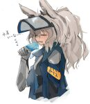 1girl animal_ears arknights bangs closed_eyes eyebrows_visible_through_hair food gloves grani_(arknights) hair_between_eyes holding holding_food horse_ears jacket long_hair melting mikojin open_clothes open_jacket open_mouth ponytail popsicle silver_hair simple_background solo upper_body visor_cap white_background
