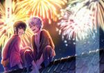 2boys :d aerial_fireworks bangs black_hair black_kimono blurry blurry_background character_name commentary_request copyright_name cover cover_page depth_of_field eyebrows_visible_through_hair fireworks gintama green_eyes grin hair_between_eyes japanese_clothes kimono male_focus multiple_boys night night_sky obi open_mouth outdoors purple_kimono red_eyes rooftop sakata_gintoki sash silver_hair sitting sky smile takasugi_shinsuke translation_request tsurumura_ichiru younger