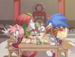 1girl 3boys :o amy_rose anger_vein animal_nose blush bracelet chinese_clothes chopsticks closed_eyes dress elbow_gloves food furry gloves green_eyes hat holding holding_chopsticks jewelry knuckles_the_echidna long_sleeves misuta710 multiple_boys red_dress restaurant rivalry sitting snout sonic sonic_the_hedgehog sonic_world_adventure sweatdrop table tails_(sonic) white_gloves