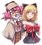 2girls alternate_breast_size bangs black_bow black_dress blonde_hair blue_eyes blush bow breasts capelet collared_shirt cosplay costume_switch deerstalker double_bun dress embarrassed eyebrows_behind_hair fake_facial_hair fake_mustache flat_chest grey_hair hair_bow hair_ornament hands_on_own_breasts hat heterochromia highres holding_magnifying_glass hololive hololive_english hololive_indonesia huge_bow kureiji_ollie kureiji_ollie_(cosplay) large_breasts looking_down monocle_hair_ornament multicolored_hair multiple_girls open_mouth pink_hair red_bow red_eyes redhead shirt shirt_tucked_in tfqr torn_clothes torn_dress virtual_youtuber watson_amelia watson_amelia_(cosplay) white_shirt yellow_eyes