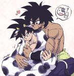 2boys animal_costume animal_ears animal_print bare_pecs black_eyes black_hair blush bottle broly_(dragon_ball_super) cherry_(cherrymoon26) chinese_zodiac couple cow cow_boy cow_costume cow_ears cow_horns cow_print crossed_legs dark_skin dark_skinned_male dragon_ball dragon_ball_super feet_out_of_frame grabbing happy_new_year horns interracial male_focus mature_male milk_bottle multiple_boys muscular muscular_male new_year open_clothes pectoral_grab pectorals short_hair sitting son_goku spiky_hair year_of_the_ox