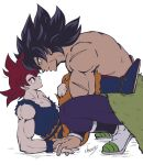 2boys animal_costume bare_arms bare_shoulders black_eyes black_hair broly_(dragon_ball_super) cherry_(cherrymoon26) couple cow_costume dragon_ball dragon_ball_super eye_contact forehead-to-forehead fur_(clothing) holding_hands interlocked_fingers interracial looking_at_another male_cleavage male_focus mature_male multiple_boys muscular muscular_male pectorals redhead scar_on_arm shirt shirtless short_hair sleeveless son_goku spiky_hair squatting super_saiyan super_saiyan_god torn_clothes torn_shirt yellow_eyes