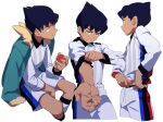 1boy adjusting_sleeves bangs black_hair bright_pupils closed_mouth collared_shirt dark_skin dark_skinned_male gym_challenge_uniform highres holding holding_poke_ball hop_(pokemon) invisible_chair male_focus multiple_views na1_pkmn poke_ball poke_ball_(basic) pokemon pokemon_(game) pokemon_swsh shirt short_hair shorts simple_background sitting sleeves_rolled_up socks white_background yellow_eyes