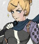 1girl apex_legends blonde_hair blue_eyes blue_scarf bodysuit breasts cosplay grey_background hair_behind_ear hair_bun hair_ornament hairclip holding holding_knife knife kunai looking_at_viewer medium_breasts scarf smile solo sparkle upper_body wattson_(apex_legends) weapon wraith_(apex_legends) wraith_(apex_legends)_(cosplay) yasutrella