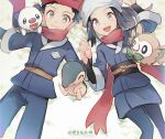 1boy 1girl :d black_hair closed_mouth commentary_request cyndaquil female_protagonist_(pokemon_legends:_arceus) gen_2_pokemon gen_5_pokemon gen_7_pokemon grey_eyes hat holding_hands huan_li jacket long_hair looking_at_viewer lying male_protagonist_(pokemon_legends:_arceus) on_back open_mouth oshawott pants pokemon pokemon_(creature) pokemon_(game) pokemon_legends:_arceus red_headwear red_scarf rowlet sash scarf sidelocks smile starter_pokemon tongue