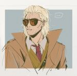 1boy blonde_hair border coat collared_shirt facial_hair kazuhira_miller looking_afar male_focus metal_gear_(series) metal_gear_solid_v mullet necktie parted_lips red_neckwear res_(spkofthdvl) shirt simple_background solo stubble sunglasses sweat tinted_eyewear upper_body vest white_border white_shirt