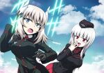 2girls bangs black_gloves black_headwear black_jacket blue_eyes blue_sky clouds cloudy_sky commentary cosplay costume_switch crossover day dress_shirt eyebrows_visible_through_hair garrison_cap girls_und_panzer glasses gloves hair_ornament hand_on_own_head hand_to_own_mouth hat heidimarie_w_schnaufer highres hirschgeweih_antennas insignia itsumi_erika jacket kamishima_kanon kuromorimine_military_uniform long_hair long_sleeves looking_at_another medium_hair military military_hat military_uniform multiple_girls necktie open_mouth outdoors pleated_skirt red_eyes red_neckwear red_shirt red_skirt rimless_eyewear shirt silver_hair skirt sky smile strike_witches uniform white_shirt wing_collar world_witches_series