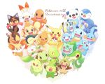 :> anniversary blue_eyes bright_pupils brown_eyes bulbasaur charmander chespin chikorita chimchar closed_eyes closed_mouth commentary_request copyright_name cyndaquil fang fangs fennekin fire flame froakie gen_1_pokemon gen_2_pokemon gen_3_pokemon gen_4_pokemon gen_5_pokemon gen_6_pokemon gen_7_pokemon gen_8_pokemon grookey highres holding holding_poke_ball litten looking_at_viewer mei_(maysroom) mudkip no_humans one_eye_closed open_mouth oshawott pikachu piplup poke_ball poke_ball_(basic) pokemon pokemon_(creature) popplio rowlet scorbunny smile snivy sobble squirtle starter_pokemon tepig tongue torchic totodile treecko turtwig