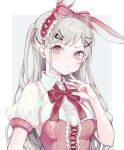 1girl absurdres animal_ears bangs bizet blush bow breasts center_frills closed_mouth collared_shirt commentary_request fake_animal_ears frills frown hair_ornament hairclip hand_up highres long_hair looking_at_viewer original pink_eyes puffy_short_sleeves puffy_sleeves rabbit_ears red_bow ribbon shiny shiny_hair shirt shiyn_hiar short_sleeves small_breasts solo striped upper_body x_hair_ornament