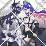 2girls anno88888 asymmetrical_legwear bangs black_hair black_legwear blue_eyes blue_hair breasts closed_mouth colored_skin elbow_gloves english_commentary from_side gloves headgear highres holding jacket kantai_collection large_breasts long_hair mask mismatched_legwear mouth_mask multicolored_hair multiple_girls new_southern_battleship_princess off_shoulder pale_skin pointy_ears profile redhead single_leg_pantyhose single_thighhigh skirt south_dakota_(kancolle) thigh-highs violet_eyes white_hair white_legwear white_skin