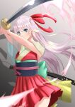 1girl absurdres blue_eyes commentary_request dress eyebrows_visible_through_hair hair_ribbon highres hilt holding holding_sword holding_weapon japanese_clothes katana kimono long_hair obi okoto0723 original pink_hair red_dress red_ribbon ribbon sash simple_background smile solo standing sword weapon
