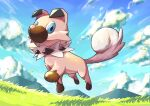 absurdres blue_eyes closed_mouth clouds commentary_request day from_below gen_7_pokemon grass highres kareha_p looking_at_viewer mountainous_horizon no_humans outdoors paws pokemon pokemon_(creature) rockruff sky smile solo toes