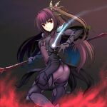 1girl alternate_hairstyle ass bodysuit butterfly_hair_ornament closed_mouth cowboy_shot fate/grand_order fate_(series) gae_bolg_(fate) hair_ornament holding holding_spear holding_weapon isse long_hair looking_at_viewer magic polearm purple_background purple_bodysuit purple_hair red_eyes scathach_(fate) scathach_(fate)_(all) side_ponytail simple_background smile solo spear weapon