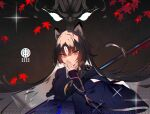 1girl animal_ears arknights arm_guards bangs black_hair black_kimono brown_background dog_ears dog_girl facial_mark forehead_mark gradient gradient_background japanese_clothes kimono long_hair long_sleeves looking_at_viewer open_mouth orange_eyes parted_bangs saga_(arknights) solo soukou_makura upper_body v-shaped_eyebrows very_long_hair weapon wide_sleeves