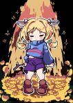 1girl absurdres aki_rosenthal arms_at_sides bangs black_background blonde_hair blue_sweater blush_stickers boots brown_footwear closed_eyes closed_mouth commentary_request cosplay detached_hair english_commentary eyebrows_visible_through_hair frisk_(undertale) frisk_(undertale)_(cosplay) full_body golden_flower_(undertale) hair_intakes hair_ornament highres holding holding_stick hololive long_hair long_sleeves low_twintails midriff_peek mixed-language_commentary navel outline puffy_long_sleeves puffy_sleeves purple_shorts short_eyebrows short_hair shorts solo sparkle standing stick sweater thick_eyebrows toon_(toonhoshi) turtleneck turtleneck_sweater twintails undertale white_outline younger