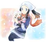 2girls :d beanie black_hair blush boots closed_mouth commentary_request dawn_(pokemon) eyelashes female_protagonist_(pokemon_legends:_arceus) floating_hair floating_scarf grey_eyes hair_ornament hairclip hat highres holding looking_at_viewer multiple_girls open_mouth pink_footwear pokemon pokemon_(game) pokemon_bdsp pokemon_legends:_arceus punico_(punico_poke) scarf sidelocks smile tongue