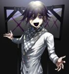 1boy :d bangs black_hair checkered checkered_scarf commentary danganronpa_(series) danganronpa_v3:_killing_harmony grey_jacket hair_between_eyes highres iei jacket light long_sleeves looking_at_viewer male_focus open_mouth ouma_kokichi purple_hair revision scarf short_hair smile solo spoilers straitjacket suzumetarou translated upper_body violet_eyes