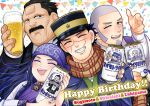1girl 3boys ;d ainu_clothes asirpa bee beer_can black_eyes black_hair brown_eyes brown_scarf bug can character_name closed_eyes confetti dated earrings facial_hair goatee golden_kamuy grey_hair hand_up happy_birthday hat holding holding_can hoop_earrings insect jewelry kepi long_hair military_hat multiple_boys mustache one_eye_closed open_mouth purple_headband scar scar_on_cheek scar_on_face scar_on_forehead scarf shiraishi_yoshitake sideburns smile sugimoto_saichi upper_body ushiyama_tatsuma ym_gk