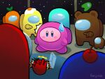 ^^^ among_us artist_name blue_eyes blush_stickers cherry circle_formation commentary english_commentary fanjimie food food_on_head fried_egg fruit fruit_on_head full_body highres indoors kirby kirby_(series) looking_at_another looking_at_viewer mini_crewmate_(among_us) motion_lines no_humans notice_lines object_on_head plant plant_on_head pointing_at_another signature sky space space_station spacesuit standing star_(sky) starry_sky sweatdrop symbol_commentary
