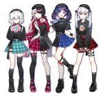 4girls aiba_uiha ars_almal asymmetrical_legwear belt black_hair blue_eyes boots bow breasts choker commentary_request earrings fishnet_legwear fishnets full_body gift hair_between_eyes hair_bow hakase_fuyuki hat heart highres holding holding_gift jewelry long_hair long_sleeves looking_at_viewer multiple_girls nijisanji open_mouth red_eyes shoes short_sleeves simple_background skirt small_breasts socks standing thigh-highs tongue tongue_out twintails waka_(wk4444) white_background white_hair yorumi_rena