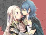 2girls anzk232 armor blue_eyes blue_hair braid byleth_(fire_emblem) byleth_(fire_emblem)_(female) cape choker closed_mouth edelgard_von_hresvelg eye_contact fire_emblem fire_emblem:_three_houses french_braid garreg_mach_monastery_uniform gloves grey_cape hair_ribbon long_hair looking_at_another multiple_girls open_mouth purple_ribbon ribbon shiny shiny_hair shoulder_armor silver_hair smile upper_body very_long_hair violet_eyes white_choker white_gloves yuri