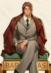 1boy belmond_banderas black_neckwear brown_background brown_eyes brown_hair brown_jacket collared_shirt commentary_request crossed_legs diamond_(symbol) feet_out_of_frame formal grey_jacket grey_pants hand_in_pocket henrryxv highres jacket jacket_on_shoulders long_sleeves looking_at_viewer male_focus monocle necktie nijisanji pants parted_lips print_neckwear shirt sitting smile solo suit virtual_youtuber white_shirt