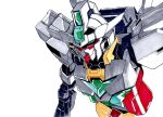 core_gundam_ii green_eyes gundam gundam_build_divers gundam_build_divers_re:rise looking_ahead marker_(medium) mecha mobile_suit no_humans one_eye_covered science_fiction sin@teien-tei solo traditional_media upper_body v-fin white_background