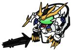 among_us crewmate_(among_us) crossover fusion gundam gundam_barbatos gundam_barbatos_lupus_rex gundam_tekketsu_no_orphans highres holding holding_weapon looking_ahead mecha mechanical_tail open_hand tail v-fin visor weapon white_background zexas