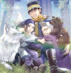 1girl 2boys absurdres ainu_clothes animal animal_on_back animal_on_head animal_on_shoulder asirpa bear bird bird_on_shoulder black_footwear black_hair blue_bandana blue_eyes blurry blurry_background boots brown_eyes buzz_cut cub dated fur_boots fur_scarf golden_kamuy grass grey_hair grin happy_birthday head_wreath highres hug looking_at_viewer military military_uniform multiple_boys nameko_(mds) on_head outdoors retar scarf shiraishi_yoshitake short_hair sideburns smile squirrel sugimoto_saichi uniform very_short_hair yellow_eyes yellow_scarf