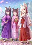 3girls :d animal_ear_fluff animal_ears bangs black_footwear black_hair blue_eyes blue_sky blush brown_eyes brown_footwear brown_hair cat_ears cherry_blossoms commentary_request day eyebrows_visible_through_hair floral_print flower fox_ears fox_girl fox_tail hair_between_eyes hair_flower hair_ornament hairclip hakama hand_on_hip hands_together hands_up highres iroha_(iroha_matsurika) japanese_clothes kimono long_hair long_sleeves miko mountain multiple_girls obi open_mouth original outdoors own_hands_together pink_flower pink_kimono print_kimono purple_hakama red_hakama sash sky sleeves_past_wrists smile socks standing tabi tail very_long_hair violet_eyes water waterfall white_hair white_kimono white_legwear wide_sleeves x_hair_ornament zouri