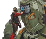 1boy aliendog black_gloves blue_eyes bt-7274 english_commentary fingerless_gloves gloves gun helmet holding holding_gun holding_person holding_weapon jack_cooper knee_pads looking_down male_focus mecha one-eyed science_fiction weapon white_background