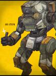 absurdres bt-7274 character_name grey_eyes highres huge_filesize jhintoxlc looking_ahead mecha one-eyed science_fiction solo sparkle thumbs_up titanfall_(series) titanfall_2 yellow_background