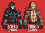 2boys abs bandana belt belt_pouch black_gloves blonde_hair blue_eyes brothers brown_gloves brown_hair character_name chromatic_aberration coat collarbone different_shadow dog_tags film_grain gloves highres jewelry liquid_snake long_sleeves looking_at_viewer male_focus mayuzumi metal_gear_(series) metal_gear_solid multiple_boys pouch red_background serious shirtless short_hair siblings simple_background single_earring smirk solid_snake