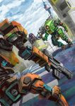 absurdres armored_core crossover glowing glowing_eye gun highres holding holding_gun holding_weapon ion_(titanfall_2) mecha mecha_request monarch_(titanfall_2) nagaoka_kihei no_humans one-eyed open_hand orange_eyes over_shoulder science_fiction titanfall_(series) titanfall_2 weapon weapon_over_shoulder