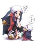 2girls beanie black_hair chibi dawn_(pokemon) female_protagonist_(pokemon_legends:_arceus) gen_4_pokemon hat head_scarf herunia_kokuoji looking_at_another minigirl multiple_girls open_mouth pink_skirt pokemon pokemon_(creature) pokemon_(game) pokemon_bdsp pokemon_legends:_arceus prinplup red_scarf sandals scarf skirt speech_bubble squatting sweatdrop white_headwear