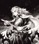 1boy belt cape cowboy_shot greyscale highres holding holding_sword holding_weapon katana kimetsu_no_yaiba long_hair long_sleeves monochrome rengoku_kyoujurou setani_o solo sword weapon