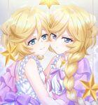 2girls bangs blonde_hair blue_eyes bow braid braided_ponytail carol_malus_dienheim cheek-to-cheek choker closed_mouth collarbone eyebrows_visible_through_hair frown hair_between_eyes highres long_hair looking_at_viewer medium_hair miona_yui mole mole_under_eye multiple_girls neck_ribbon pink_ribbon ponytail purple_bow purple_ribbon ribbon senki_zesshou_symphogear shiny shiny_hair shirt sleeveless sleeveless_shirt smile upper_body very_long_hair white_choker white_shirt