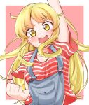 1girl :d absurdres arm_up bang_dream! bangs blonde_hair blush breasts clenched_hand denim eyebrows_visible_through_hair highres long_hair looking_at_viewer medium_breasts open_mouth overalls red_shirt round_teeth rustysalmon shirt short_sleeves sidelocks smile solo striped striped_shirt suspenders t-shirt teeth tsurumaki_kokoro upper_body yellow_eyes