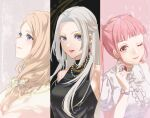 3girls ;) alternate_costume asao_(vc) bangs black_dress blue_eyes blunt_bangs bow braid brown_eyes closed_mouth dress dress_shirt earrings edelgard_von_hresvelg fire_emblem fire_emblem:_three_houses floating_hair french_braid hair_bow highres hilda_valentine_goneril holding jewelry light_brown_hair long_hair looking_at_viewer looking_up makeup mascara mercedes_von_martritz multiple_girls one_eye_closed pink_hair red_lips shirt short_sleeves silver_hair sleeveless sleeveless_dress smile split_screen upper_body very_long_hair violet_eyes watch watch white_bow white_shirt