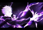 1boy black_border black_jacket border closed_mouth electricity enenito_ju gojou_satoru hands_up high_collar highres jacket jujutsu_kaisen letterboxed light_particles long_sleeves looking_away magic male_focus profile short_hair solo upper_body white_hair