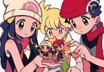 2girls 4boys bangs barry_(pokemon) beanie black_hair blonde_hair blush blush_stickers chibi chueog dawn_(pokemon) eyelashes green_scarf grey_eyes hair_ornament hairclip hat holding long_hair lucas_(pokemon) multiple_boys multiple_girls nose_blush orange_eyes pokemon pokemon_(game) pokemon_bdsp pokemon_dppt red_scarf scarf short_hair short_sleeves simple_background sparkle spiky_hair sweatdrop white_background white_headwear