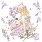 1girl blush closed_eyes dress flower frilled_dress frills highres lavender_(flower) original profile purple_dress purple_flower purple_footwear rabbit shoes solo traditional_media watercolor_(medium) white_background yuufuushi