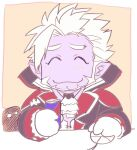 1boy ^_^ ascot beard black_jacket blush brown_background can chibi closed_eyes closed_mouth colored_skin commentary_request facial_hair facing_viewer gilzaren_iii gloves holding holding_can jacket long_sleeves male_focus mouse_(computer) nijisanji open_clothes open_jacket pointy_ears purple_skin shirt smile solo thick_eyebrows two-tone_background upper_body virtual_youtuber white_background white_gloves white_hair white_neckwear white_shirt yakisoba_ohmori