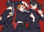 3girls arm_up bangs black_hair black_jacket black_skirt brown_eyes brown_hair cowboy_shot crossed_arms gakuran glasses grin gun hair_between_eyes hammer high_collar high_ponytail highres holding holding_gun holding_hammer holding_polearm holding_weapon ipopopo_ipoppo jacket jujutsu_kaisen kugisaki_nobara long_hair long_sleeves looking_at_viewer multiple_girls nail polearm red_background revolver school_uniform short_hair simple_background skirt smile standing swept_bangs trigger_discipline violet_eyes weapon zenin_mai zenin_maki